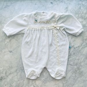 3M Little Me White Holiday Overall Romper